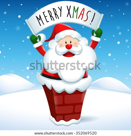 Merry Xmas, Santa Claus into the chimney with placard, in snow scene - stock vector