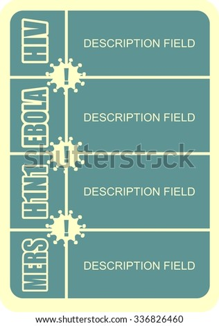 mers, h1n1, ebola, hiv viruses disease names with description field and virus icon - stock vector