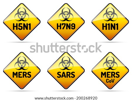 MERS SARS H5N1 Biohazard virus warning sign collection with reflect and shadow on white background - stock vector
