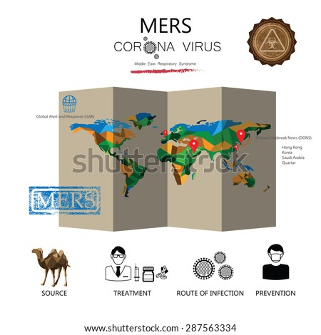 MERS world map epidemic infographic vector - stock vector