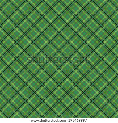 Mesh seamless vector pattern with single and double dashed lines. Repeat background with geometrical array over green background