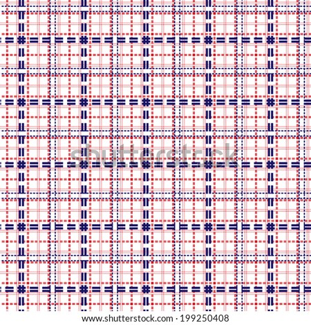 Mesh seamless vector pattern with single and double dashed lines. Repeat background with geometrical array in blue and red - stock vector