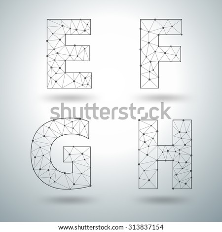 Mesh stylish alphabet letters  E F G H, Vector illustration templates design - stock vector