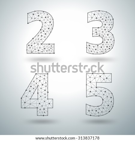 Mesh stylish alphabet letters numbers 2 3 4 5, Vector illustration templates design - stock vector