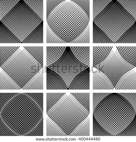 Meshy patterns. Convex and concave optical effect. Design elements set. Vector art. - stock vector