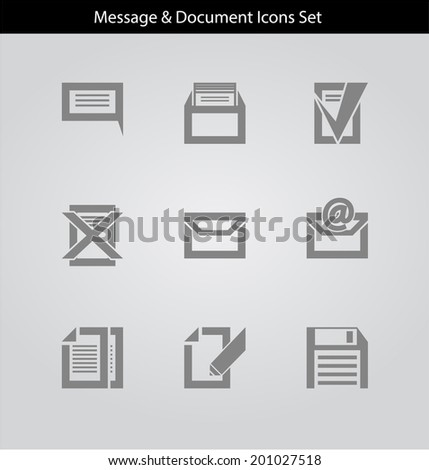 Message and Document Icons Set - stock vector