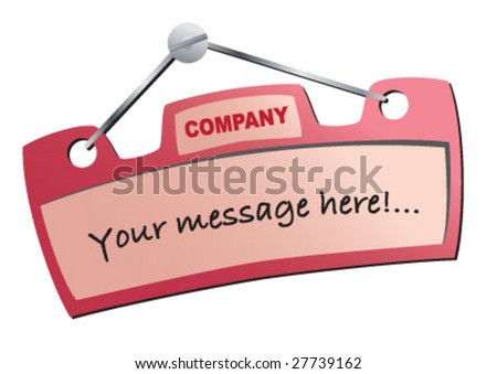 Message banner for wall or door - stock vector
