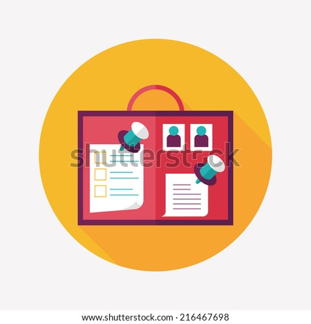 message board flat icon with long shadow,eps10 - stock vector