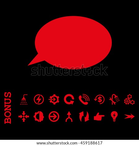 Message Cloud vector icon. Image style is a flat iconic symbol, red color, black background.