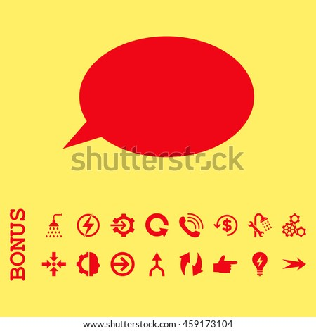 Message Cloud vector icon. Image style is a flat iconic symbol, red color, yellow background.