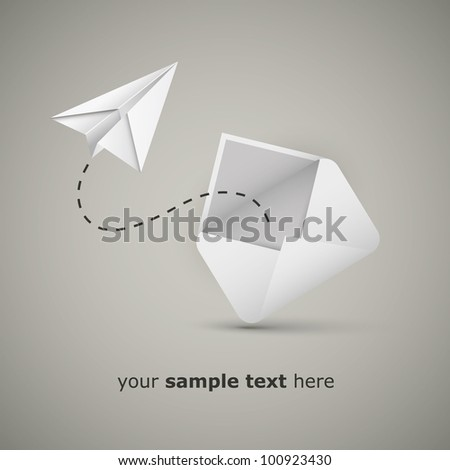 Message from an envelope - Paper airplane message - stock vector