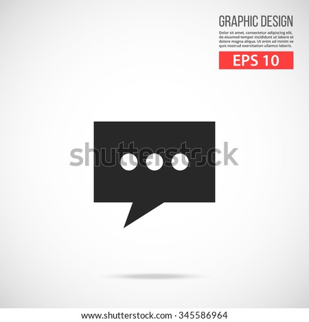 Message icon. Chat black pictogram. Modern flat design vector illustration, new high quality concept for web banners, web site, infographics. Vector icon graphic art isolated on gradient background - stock vector