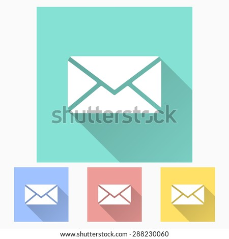 Message - icon is white with long shadow, flat design. Vector illustration.