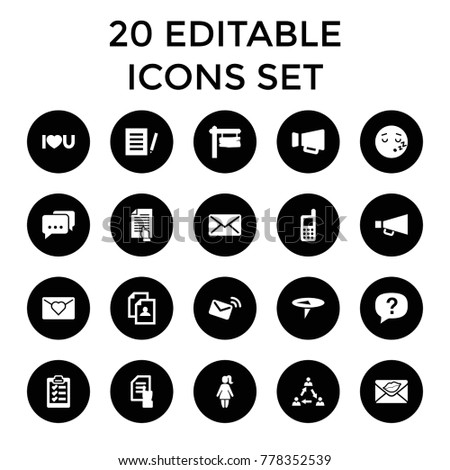 Message Icons Set 20 Editable Filled Stock Vector (Royalty Free ...