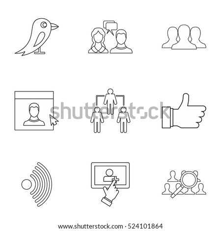 Message icons set. Outline illustration of 9 message vector icons for web