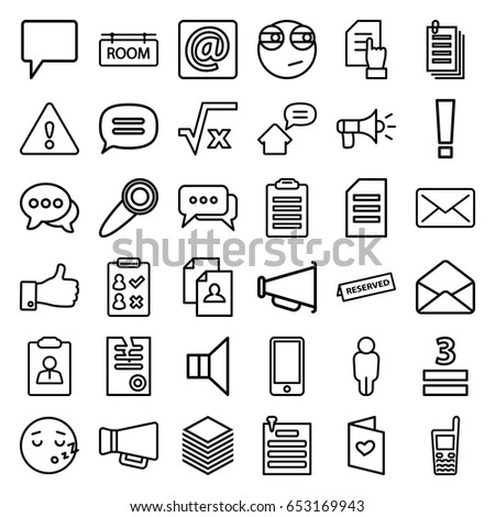 Message icons set. set of 36 message outline icons such as pointing on document, resume, paper, 3 allowed, love letter, chat, old phone, thumb up, megaphone, envelope, phone
