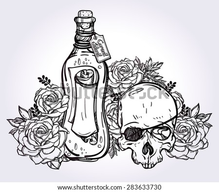 Message in a bottle (letter wrapped in a bottle) with pirate scull and beautiful rose flowers. Tattoo, romance and adventure collection. Vintage style. Hand drawn isolated vector illustration. - stock vector