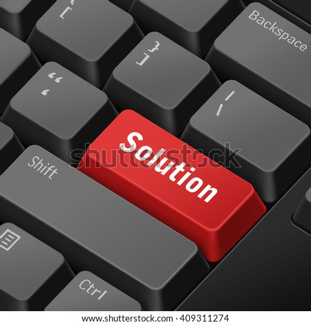 message on 3d illustration keyboard enter key for solution concepts - stock vector