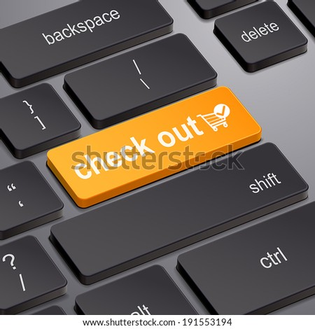 message on keyboard enter key, for check out concepts - stock vector
