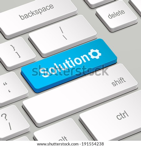 message on keyboard enter key, for solution concepts - stock vector