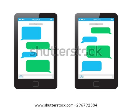 Message Phone Template - stock vector