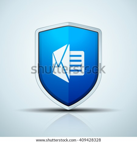 Message Protection Shield sign - stock vector