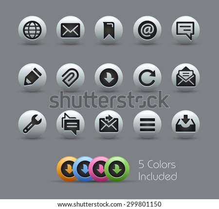 Messages Icons // Pearly Series ----- The Vector file includes 5 color versions for each icon in different layers ----- - stock vector