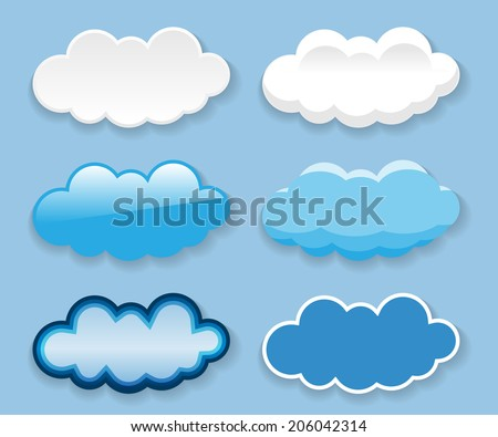 Messages in the form of clouds on blue background. Set. Illustration. Vector.