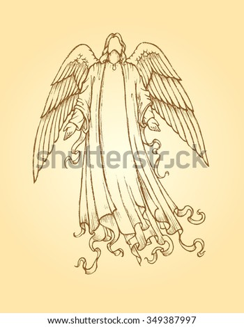 Messenger Angel-Vintage style artwork of an angel sending God's message from above