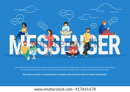 Messenger concept illustration of young various people using mobile gadgets such as tablet pc and smartphone for texting via internet. Flat design of guys and women standing near big letters - stock vector