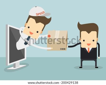 messenger sent item for customer on online shopping concept vector - stock vector