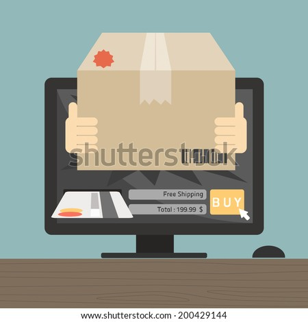 messenger sent item on online shopping concept with computer desk vector - stock vector