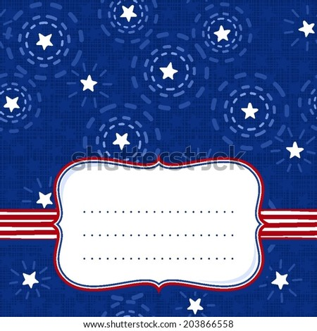 Messy little white sparkling stars on dark blue background with retro shaped frame on red white striped ribbon with place for your text seasonal card invitation cover
