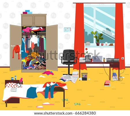 Messy Room Where Young Lady Lives Teenager Or Student Girl Untidy In The Morning