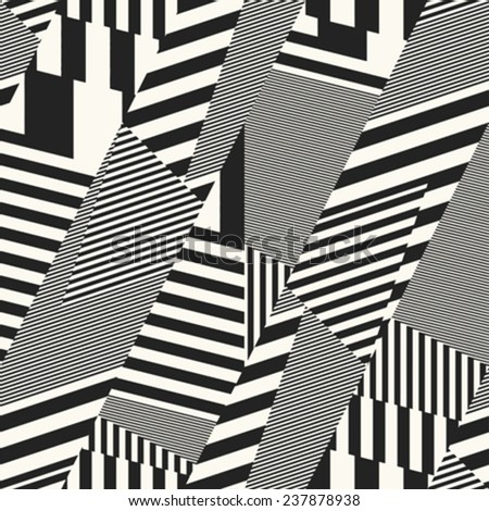 Meta striped geometric background. Seamless pattern. Vector. - stock vector