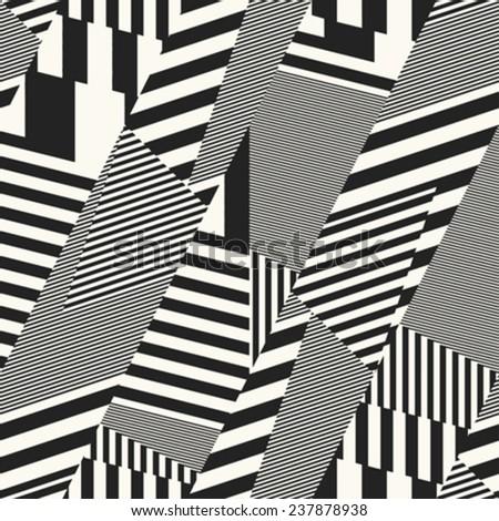Meta striped geometric background. Seamless pattern. Vector. - stock vector