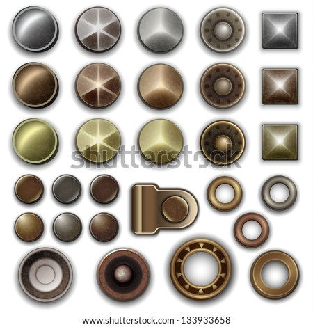 Metal accessories collection - vector eps10 - stock vector