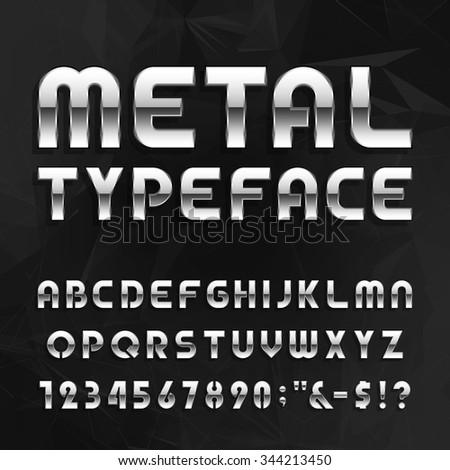 Metal Alphabet Vector Font. Type letters, numbers and symbols. Chrome effect letters on the abstract background. Vector typeface for headlines, posters etc. - stock vector