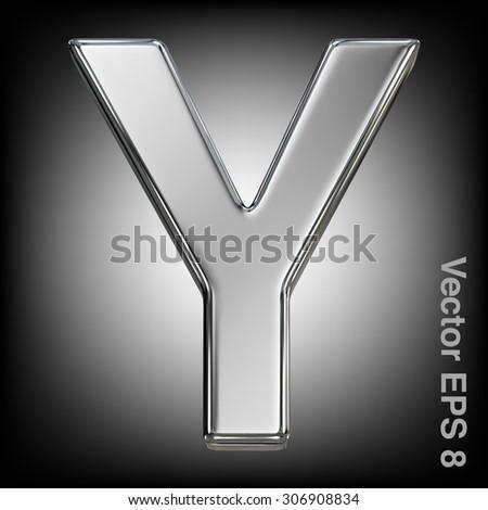 Metal alphabet vector symbol - Y. Eps 8 using mesh. - stock vector