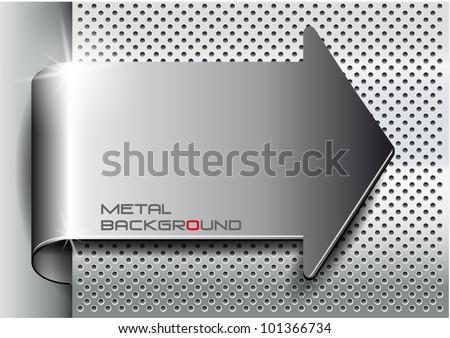 Metal background arrow.Vector illustration - stock vector