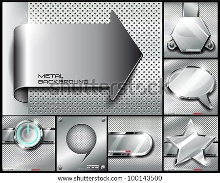 Metal background set.Vector illustration - stock vector
