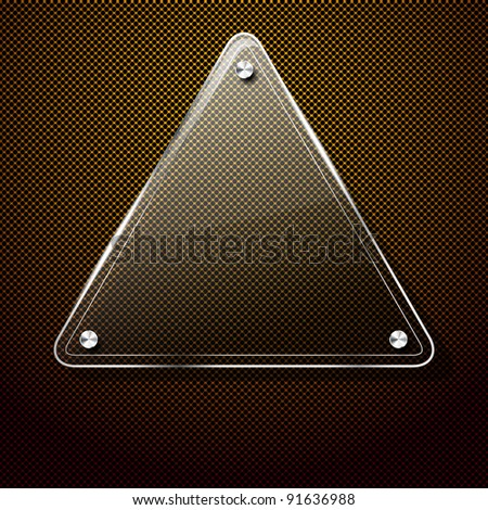 Metal background with glass triangle frame for your text - stock vector