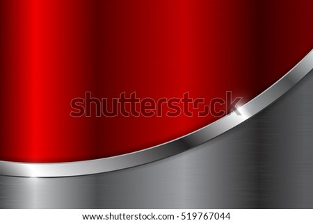 Metal background with red element. Stainless steel. Vector illustration