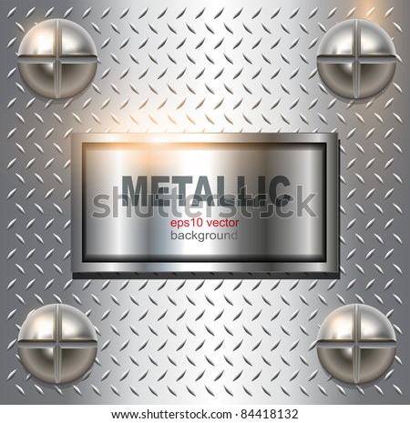 Metal background with screws, vector. - stock vector