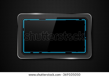 Metal background with shiny glass frame for your text - vector illustration - stock vector