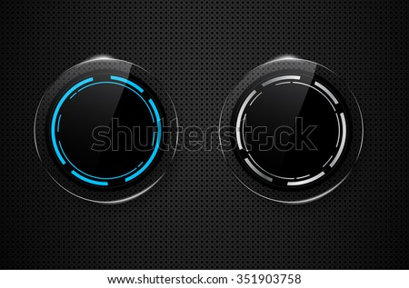 Metal background with two circle glass buttons - vector illustration - stock vector