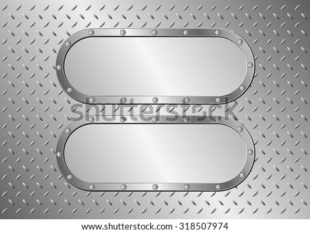 metal background with two plaques - stock vector
