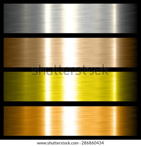 metal backgrounds brushed metallic textures with reflections.  - stock vector