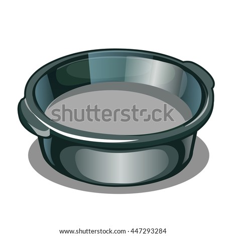 Metal basin with cement mortar isolated on a white background. Vector illustration.