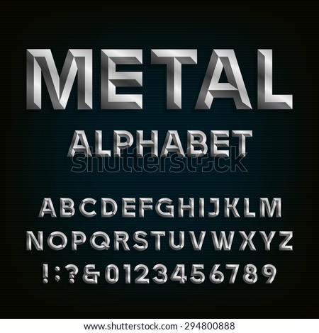 Metal Beveled Font. Vector Alphabet. Metal effect beveled letters, numbers and punctuation marks on a dark background. Stock vector font for your headlines, posters etc. - stock vector